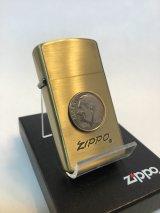 No.1610 ヴィンテージZIPPO 1989年製 ブラスアンティーク 10セントコイン付き z-2489