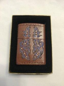 画像5: No.200 レザーシリーズZIPPO ブラウン 刺繍(グレー・ブルー)&ビーズ z-2905